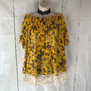 Yellow floral lace trim top